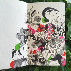 Helen Dardik - today's moleskine adventures:) #sketch #moleskine #cat