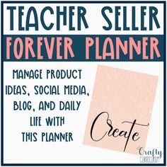 Mange everything you need for your teacher store and your daily life with this planner. Over 150 pages to help you map out your year, keep goals, brainstorm new product ideas, marketing, calendar, and home life. This planner will never expire! Teacher Planner, Life Planner, Budget Forms, Household Budget, Marketing Calendar, Perfect Planner, Teacher Organization, Product Ideas, Activity Days