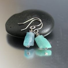 14k Solid White Gold Paraiba Blue Tourmaline Rough Nugget Earrings