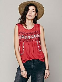 Sleeveless crocheted lace top with embroidery throughout. Mesh detailing on trim and rounded hem.  Get yours now with FREE shipping:  http://shop.addictedjeansstore.com/Free-People-Red-Clay-Reckless-Abandon-Top-f645u714-red.htm