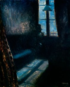 Night in St. Cloud. 1890. by  Edvard Munch.  Oil on canvas. Gorgeous blue light coming through the window