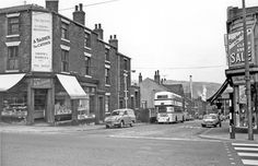 Albert Terrace Road photographed from Infirmary Road, Arnold Barker, caterer, 126 Infirmary Road, left, Blanchards Ltd., right Sheffield England, South Yorkshire, Shop Fronts, Classic Mini, Present Day, Leeds, Old Photos, Terrace, 1960s