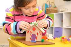 DIY Cardboard Toy Gingerbread House - using these trinkets (babbles and beads) and things from nature we can make an awesome fairy house. Christmas Craft Fair, Holiday Crafts, Holiday Fun, Holiday Ideas, Christmas Ideas, Cardboard Crafts Kids, Cardboard Toys, Cardboard Playhouse, Cardboard Furniture
