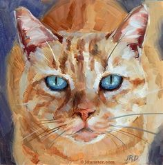 """Daily Paintworks - """"Orange Tiger Kitty"""" - Original Fine Art for Sale - © J. Watercolor Cat, Watercolor Animals, Cat Drawing, Painting & Drawing, Gato Animal, Illustrations, Illustration Art, Fantastic Art, Tiger"""