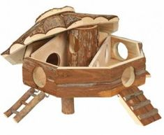 Natural Wood - Gunnar Hamster House with Ramp - 25x16cm