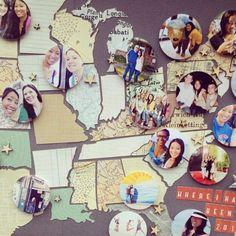 Mapas amb fotografies del llocs visitats.  Una bona forma d'organitzar els records de les vacances