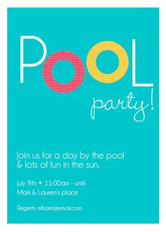 pool party invite by thepinwheelpress on etsy