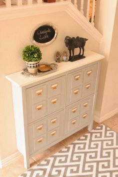 Faux Slim Card Catalog - Add thin pieces of wood and drawer pulls to the fronts of an Ikea Hemnes shoe holder