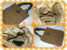 collage bolso rústico cuerda marron ganchillo