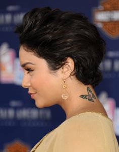 "Vanessa Hudgens got a butterfly tattoo on the back of her neck when she was 22. ""A butterfly landed on my mum's stomach a week before I was born and that's how I got my name, because Vanessa means butterfly—it's a Latin derivative."""