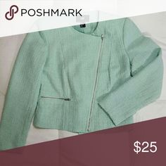 H&M mint green winter blazer Cute and classy mint green woven blazer. Accented with silver zippers along pockets and front. H&M Jackets & Coats Blazers