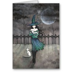 Witch Cat Autumn Fine Art Print by Molly Harrison 'Just Before Midnight' Giclee 5 x 7 Witch Cat, Cat Posters, Before Midnight, White Cats, Black Cats, Fairy Art, Halloween Art, Wiccan, Cat Art