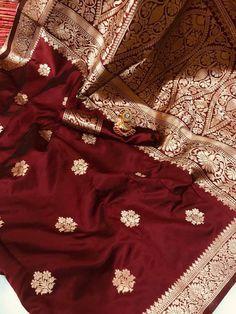 Silk Saree Banarasi, Indian Silk Sarees, Soft Silk Sarees, Cotton Saree, Cotton Silk, Kanchipuram Saree, Maroon Saree, Red Saree, Indian Marriage