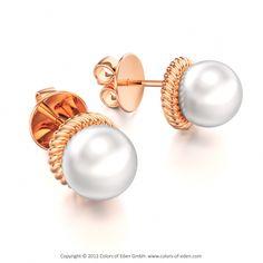 "Pearl Earrings in Red Gold - ""Neptune's Gift"""