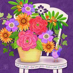 Digital Art - On The Bright Side - Flowers Of Faith by Valerie Drake Lesiak