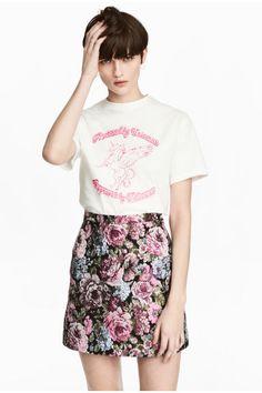 Falda en tejido de jacquard - Negro floral - MUJER | H&M ES