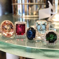 Wow!  We're loving the vibrant colors of these stunning rings!  Morganite, Rubelite, Sapphire, Aquamarine, GreenTourmaline.  www.alsonjewelers.com