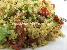 Quinoa Salad Recipe with Pesto, Sun Dried Tomatoes and Pumpkin Seeds