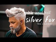 Silver fox ☆ messy quif ☆ men`s hairstyle inspiration Older Men Haircuts, Short Grey Haircuts, Mens Grey Hairstyles, Cool Hairstyles For Men, Black And Grey Hair, Men With Grey Hair, Grey Pixie Hair, Grey Hair Model, Blonde Hair Transformations