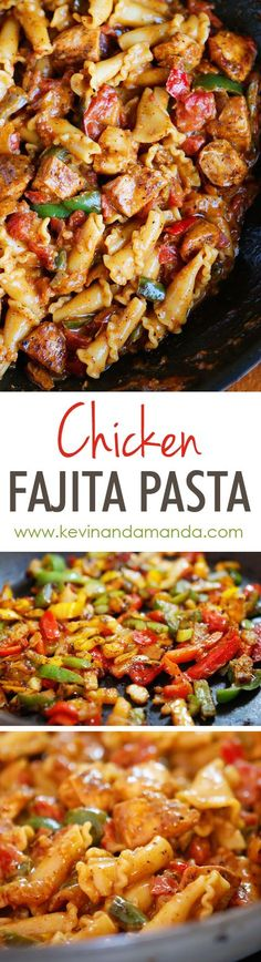 This Creamy Chicken Fajita Pasta is a HUGE winner! Everything cooks in one pan (even the noodles!) and it's done in 15 minutes. use gluten free pasta Pasta Recipes, New Recipes, Chicken Recipes, Dinner Recipes, Cooking Recipes, Healthy Recipes, Recipies, Pasta Dishes, Food Dishes