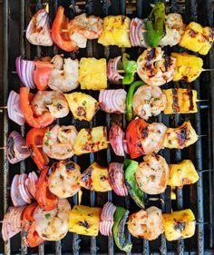 When you're ready to spice up dinnertime try my Grilled Shrimp and Pineapple Skewers Recipe. The spicy sweet chili sauce will have you coming back for seconds. What are you grilling this week? Grilled Shrimp Kabobs, Shrimp Kabob Recipes, Shish Kabobs, Skewer Recipes, Seafood Recipes, Bbq Shrimp Skewers, Grilled Scallops, Grilled Fish Recipes, Barbecue