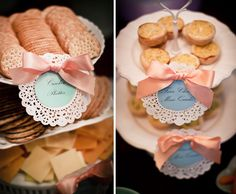 Cute food labels using a doily and a ribbon. Hate when food is served at an event and you have no clue what anything is because there are no labels.