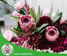 Contact Bofberg Flowers for a wide range of fynbos flower arrangements and services. We will gladly have them delivered anywhere in South Africa. Protea Wedding, Floral Wedding, Wedding Bouquets, Elegant Wedding, Rustic Wedding, Bridal Flowers, Pink Flowers, Flower Bouqet, Protea Bouquet