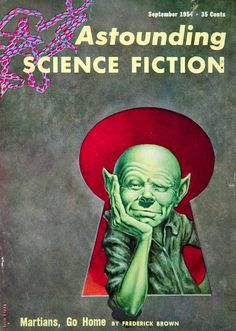 1954 Cover Astounding Science Fiction Frank Kelly Freas Martian Frederic Brown #vintage #sciencefiction