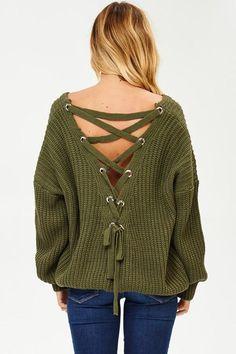 84a9574ca1 Chelsea Back Lacing Knit Sweater. Long Sleeve SweaterChelseaWomen s ...