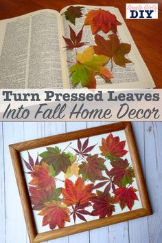 Pressed Leaves Artwork for Pretty Fall Home Decor Fall Arts And Crafts, Autumn Crafts, Thanksgiving Crafts, Christmas Crafts, Dry Leaf Art, Autumn Leaves Craft, Fall Leaves, Leaf Projects, Pressed Leaves
