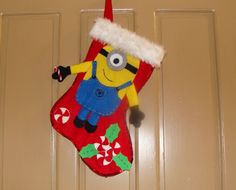 diy bota navidea con personaje de minion felt christmas stocking mi - Minion Christmas Stocking