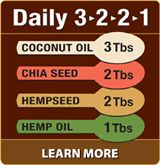Nutiva recommends adding this to your daily menu:  3 Tablespoons of Coconut Oil  2 Tablespoons of Chia Seed  2 Tablespoons of Hempseed  1 Tablespoon of Hemp Oil  Is a great way to boost your intake of nutrient-dense superfoods rich in protein, fiber, good fats, vitamins and minerals.    Adding 6-8 tablespoons of certified-organic coconut, hemp, and chia to your diet does't leave a lot of room for empty carbs or sugary sweets!    The Nutiva Daily 3•2•2•1