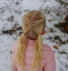 Microbraids into pigtails peinados para niñas Baby Girl Hairstyles, Kids Braided Hairstyles, Hairstyles For Girls Easy, Summer Hairstyles, Girl Hair Dos, Girl Hair Braids, Pigtails Hair, Pigtail Braids, Crazy Hair Days