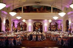 Silver Satin Chair Covers at the Rice Crystal Ballroom in Houston, Texas - Linens by Over The Top Linen - www.overthetoplinen.com