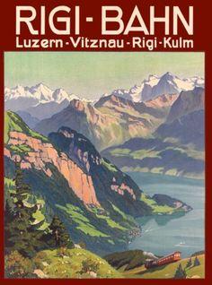 Rigi-Bahn-Vitznau-Lucerne-Switzerland-Vintage-Travel-Advertisement-Art-Poster