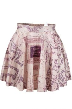 Pink Ancient Architectural Drawing Skirt