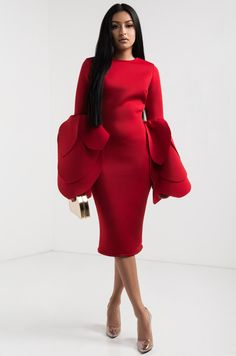 aa0acb61fc0 AKIRA High Boat Neck Long Tulip Sleeve Bodycon Mini Dress in Black