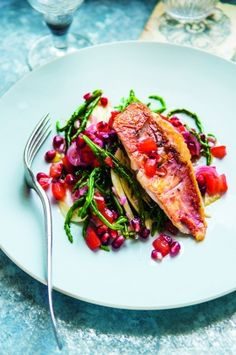 Samphire and gurnard fillet with pomegranate and tomato dressing recipe