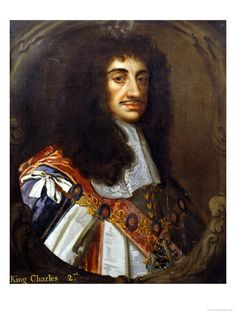 King Charles II (1660-1685). House of Stuart. 1st cousin 9 times removed to Queen Elizabeth II. Reign 24 yrs, 8 mos, 9 days and succeeded by brother James II.