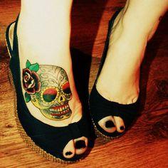 sugar skulls tattoo ideas   30 skull foot tattoo designs · Skullspiration.com - skull designs ...