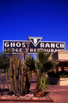 Vintage neon sign: Ghost Ranch Lodge; Tucson, Arizona. The sign is still in place, but this old Tucson property has been converted for 'senior living', and is not open to the public.