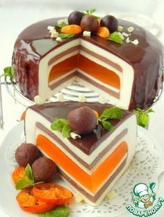 * Gourmet cakes Super Awesome Chocolate tangerine c. Food Cakes, Gourmet Cakes, Cupcake Cakes, Gourmet Recipes, Fancy Desserts, Fancy Cakes, Sweet Desserts, Delicious Desserts, Beautiful Cakes