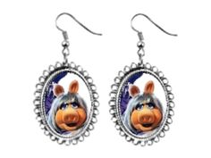 miss piggy muppet Earrings silver plated oval pendant charm