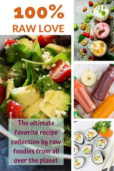 100% RAW LOVE contains exclusively tried, tested and served recipes – a satisfaction guarantee! Have you ever wondered what the world's leading raw foodies favorite recipes are? Wonder no longer – they are all in this book!  Smoothies & Juices, Salads & Soups, Snacks, Mains & Desserts and More! You will also find a bit of information and contact details of each recipe creator on their recipe's page - 100 Color Pages! Recipe Creator, Recipe Collection, Raw Food Recipes, Juices, Love Food, Smoothies, Foodies, Soups, The 100