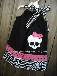 Baby Girl Monster High Skull Pillowcase Dress