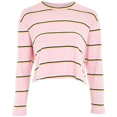 Topshop Petite Stripe Crew Neck T-Shirt ($24) ❤ liked on Polyvore featuring tops, t-shirts, pink, crew t shirt, striped shirt, striped long sleeve t shirt, stripe t shirt and longsleeve t shirts