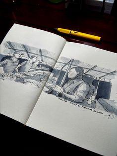 dinner at saung (jakarta street food). ink + watercolor