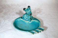 Rare Vintage Blue Ceramic Scottie Dog by EthelwynsTreasures