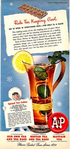 1940s recipe for ice tea made with spiced tea cubes. #food #drinks #1940s #ice #iced #tea #summer #ads