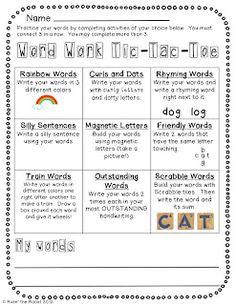 Classroom Freebies: Word Work Tic Tac Toe